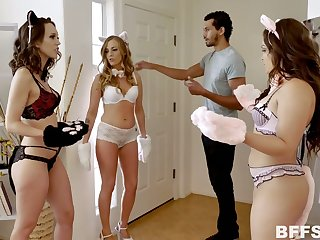 Two playful babes in cat outfits fuck one hot blooded plus handsome guy