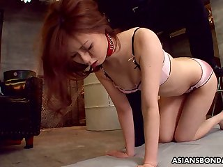 Svelte chestnut haired Asian nympho Karin Yazawa is masturbated with vibes