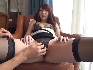Shy brunette Japanese babe sucks cock in lingerie at an office
