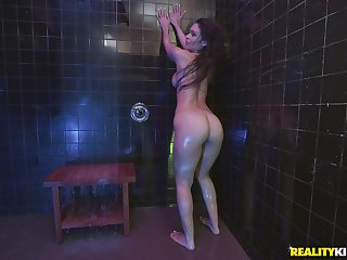 Doggy turtle-dove involving the shower with wet bombshell spoil Katana Kombat