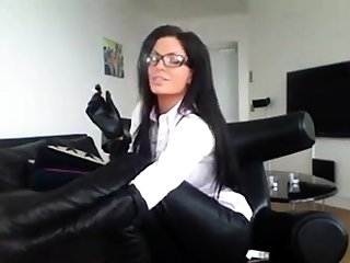 Milf Forth Glasses Smoking Forth Sexy Boots