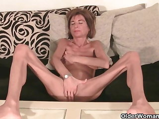 Very skinny granny strips off increased by masturbates (compilation)