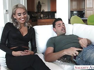 Lean blond model, Janice Griffith is obtaining porked on the couch, in a rear end- fashion posture