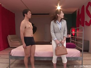 Non-professional Japanese babe Hatano Yui gets cum on hairy pussy after a fuck