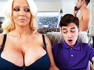 Busty stepmom interested to taste schoolboy's Hawkshaw