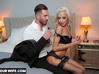Glamorous blonde Hime Marie is cheating on her husband here handsome follower groupie