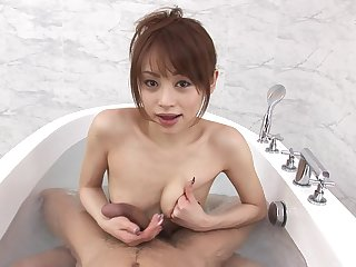 Amazing brunette Miina Yoshihara enjoys blowing in the bathroom
