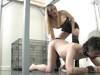 Ultimate femdom and ball busting video featuring blooper in corset Ms Nikki