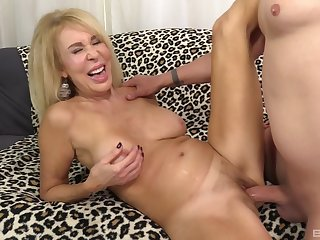 Ass, Big ass, Big tits, Blonde, Blowjob, Couple, Masturbation, Mature, Natural, Pussy, Shave, Shaved pussy, Sofa, Tits