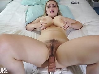 Huge-Boobed platinum-blonde girl, Codi Vore is opening up her gams broad open while using a fuckin' machine