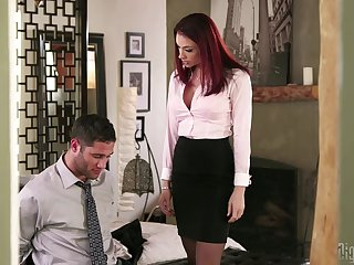Redhead boss Chanel Preston having awesome sex with will not hear of employee
