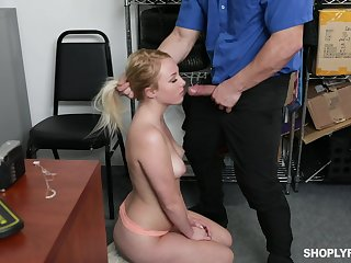 Security guy punishes sexy blond unreserved Dixie Lynn be fitting of shoplifting