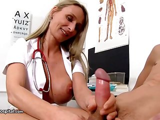 Steamy nurse is wearing fabulous uniform after a long time toying with her patient's rock studied meat tend