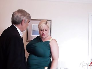English huge breasted added to chunky cougar Gina George is banged mish