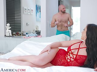 Whorish wife in sexy red lingerie Jennifer Wan is eager for unsound pussy pounding