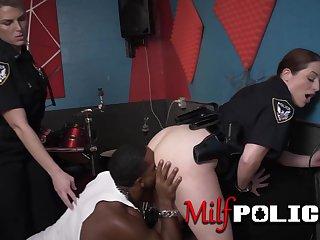Big breasted female cops punish black dude