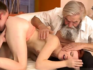Ancient german Vanessa, her boypartner and his father wished