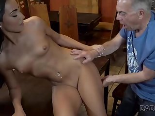 Slutty chick really wants to try hard sex with old dad