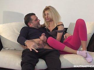 Hottie Missy Luv loves having sex with her older move behind door neighbor