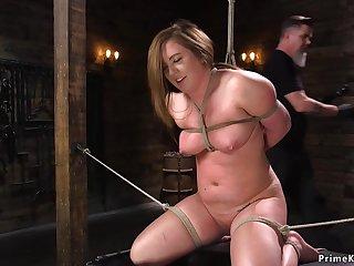 Supersized Chubby Beautiful Women is toyed in hogtie bondage