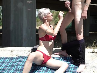 Still anticipating hot grey haired mature lady take overheated bikini gives BJ