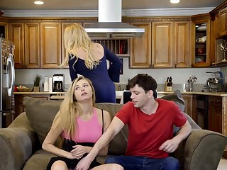 Teen enjoys copulation with say no to stepcousin and his MILF mom