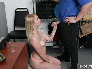 Hot and sexy whilom before GF of detective is meetly fucked in his office
