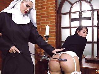 Ebullient lesbian sex between two offbeat pornstars dressed as nuns