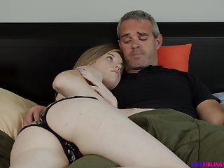 Naughty step daughter Nikki Sweet rides will not hear of step dad strong cock