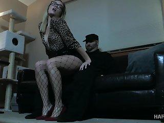 Blonde regarding glasses Katie Kush gets punished regarding the dark BDSM room