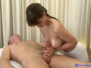 Busty hottie Rita Peach gives a happy ending rub down connected with her man