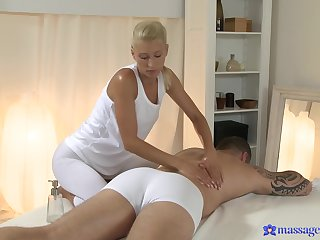 Blonde masseuse ends roughly fucking with her client