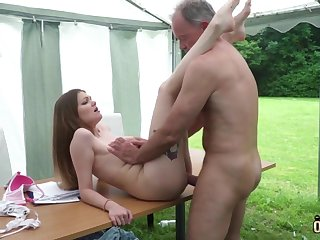 Youthfull nubile entices and tears fro elderly fellow then facial cumshot pop-shot