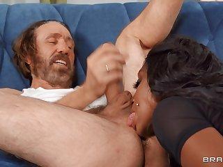 Nude busty ebony MILF rams ashen senior cock
