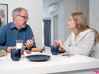 Skinny chick gets laid with her dad's best buddy