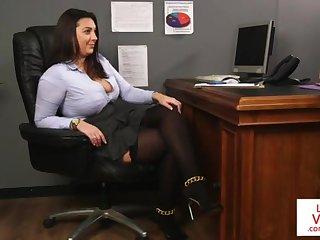Office honey teaches slave fucking right-hand man around masturbate
